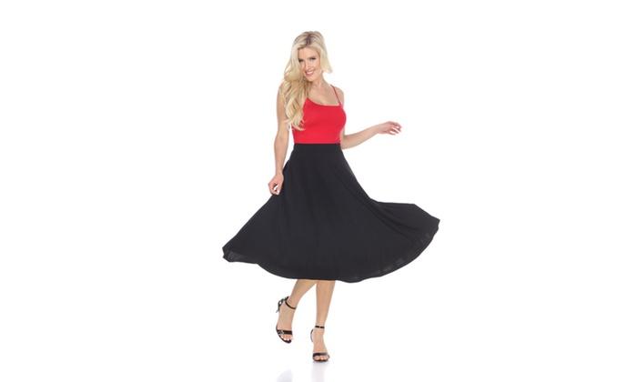 Black Flared Midi Skirt with pockets