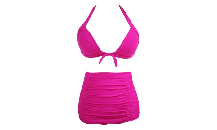 Women's Solid Rosy Pleated High Waist Bikini Swimsuit