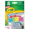 Crayola Dry-Erase Neon Crayons, 8 Ct, Includes Sharpener & Erase Cloth