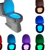 Groupon.com deals on 2 Pack 8 Colors Led Motion Sensor Activated Toilet Night Light