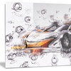 Black and Orange Exotic Car Metal Wall Art 28x12