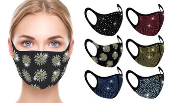 6 Pack : Rhinestone Bling Face Mask