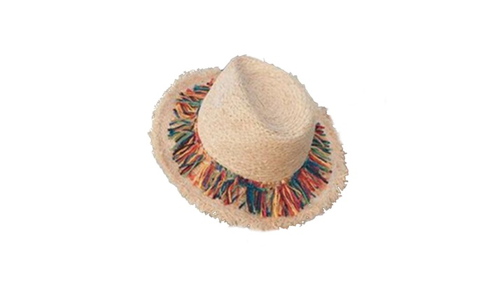 Womens Colorful Tassels Straw  Sun Hat