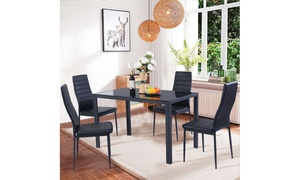 Modern Table and Chair Kitchen Dining Set (5-Piece)