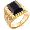 316L Stainless Steel Black Square Onyx Men's Ring