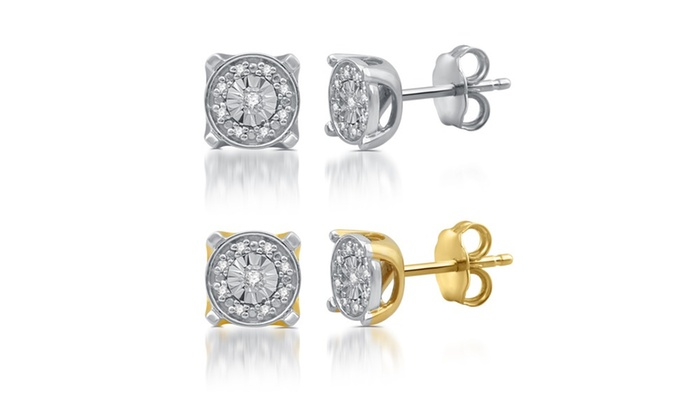 Diamond Accent Vintage Style Frame Stud Earrings In Sterling Silver By Decarat