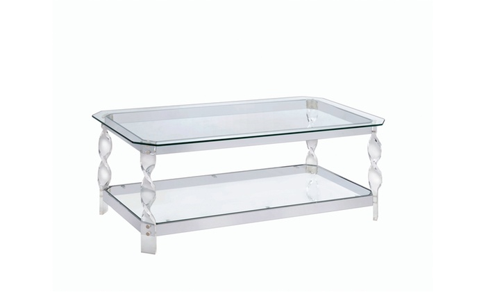Lisette Contemporary Swirl Coffee Table Clear Groupon