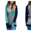 Womens Casual Long Sleeve Crewneck Color Block Pocket