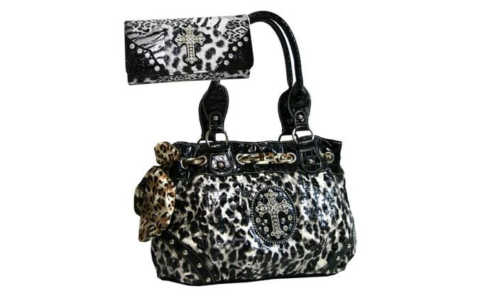 Leopard Printed Handbag Set