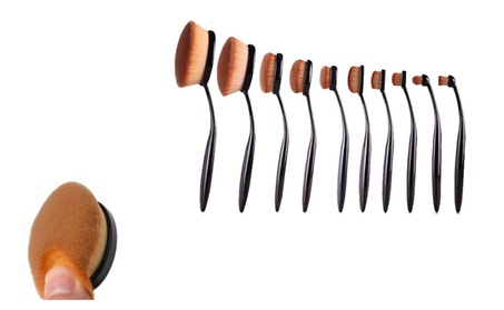 10 Pcs Soft Oval Toothbrush Makeup Brush Sets Foundation Brushes d2054bc4-ca72-4105-aa9b-ee897d36edd0