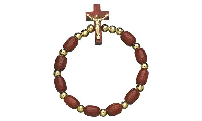 Catholica Shop Wooden Beads Decade Rosary Stretch Bracelet With Wooden Cross