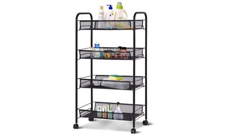 Costway 4 Tier Storage Rack Trolley Cart Home Kitchen Organizer