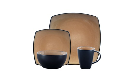 Gibson Soho Lounge 16-Piece Square Reactive Glaze Dinnerware Set photo