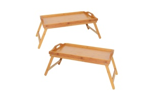 Home Ease Bamboo Breakfast Bed Tray (2-Pack)