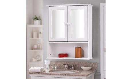 Bathroom Wall Cabinet Double Mirror Door Cupboard Storage Wood Shelf