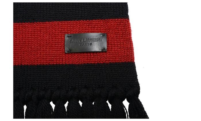 Saint Laurent Unisex 100% Wool Striped Scarf One Size