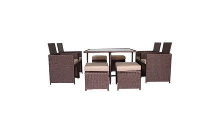Outdoor Wood Grain PE Wicker Rattan Patio Sofa Chair Furniture Glass Table