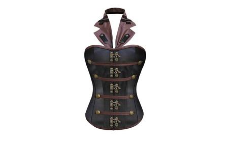 Women Gothic punk Imitation leather Halter Corset Vest Top 8de8e6f4-6080-457f-ace7-72766aadfedf