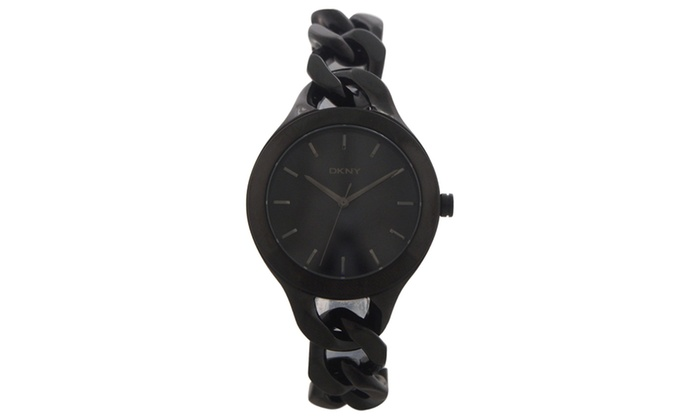 492b1817c5a DKNY NY2219 Chambers Black Ion Plated Stainless Steel Chain Bracelet ...