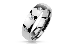 3 CZ Set Classic Dome 316L Stainless Steel Rings