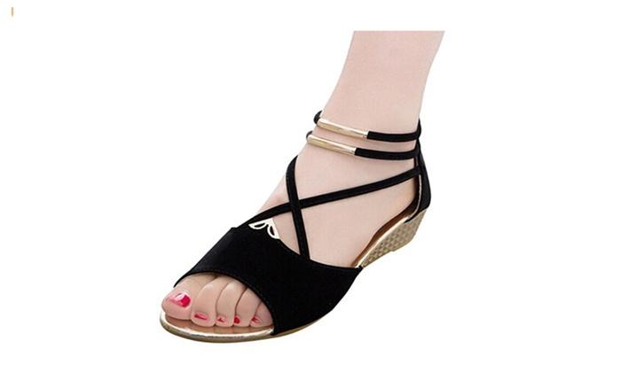 Women Roman Style Open Toe Wedges Girls Cross T Strap Flat Sandals