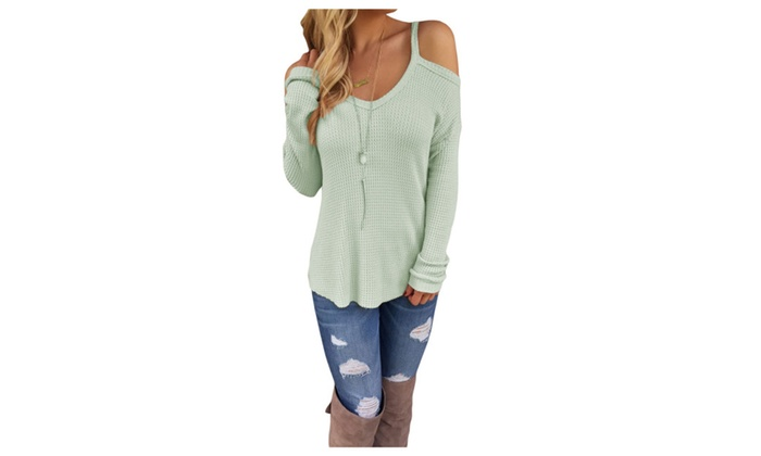 Women's Light Green Cold Shoulder Knit Long Sleeves Sweater