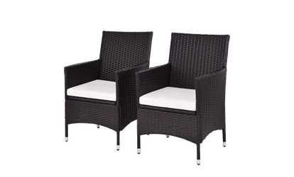 Great Image Placeholder Image For Set Of 2 Patio Chairs Rattan Wicker Dining Arm  Seat Cushions