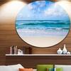 Serene Blue Tropical Beach' Large Seashore Metal Circle Wall Art