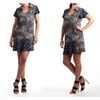 Women's Animal Print Asymmetrical Dress with Collar. Made in USA.