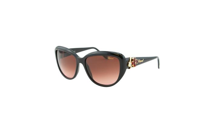 3c9f681d6 Chopard SCH 147S Women Black Gold Flower Jewel Embellished Sunglasses