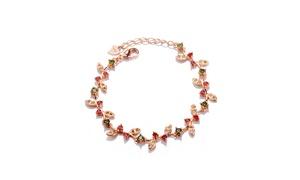 Rose Gold over Sterling Silver Garnet and Peridot Rose Flower Bracelet