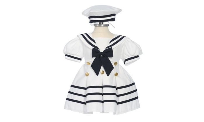 16c71d509 Sailor Dress Girls Nautical With Hat Infant 3-12M Toddler 2T-4TCustom