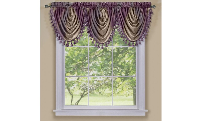 Blue Ombre Window Curtains: Ombre Waterfall Valance