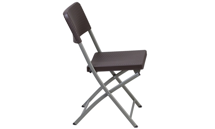 ... Groupon Goods: HERCULES Series Brown Rattan Plastic Folding Chair With  Gray Frame ...