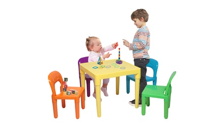 Kids Plastic Table and Chair Set Learn and Play Activity School Home Furniture