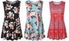 Women's Summer Sleeveless Floral Tank Top Casual Blouse T Shirt