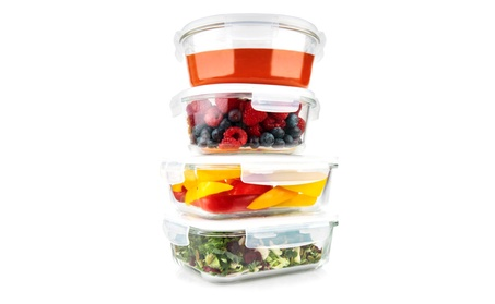 Glass Meal Prep Food Storage Containers, Round & Rectangle, 35 oz