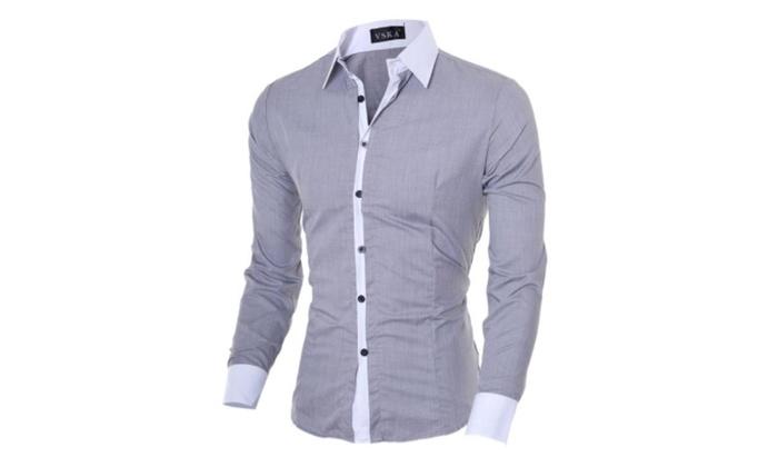Vska Mens Slim Fit Button Down Long Sleeve Cotton Floral Print Shirt