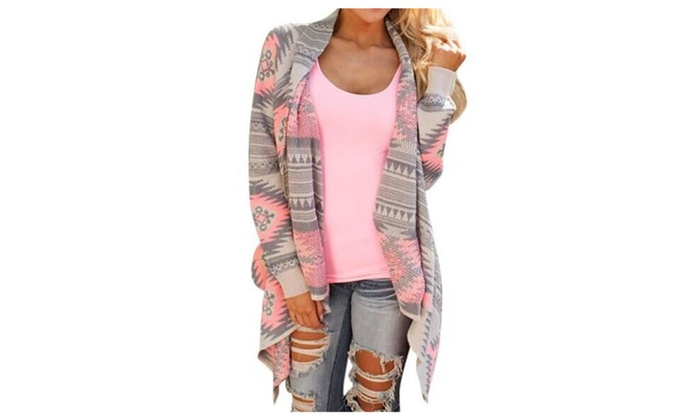 Women's Aztec Print Drape Open Front Drape Cardigan Sweaters