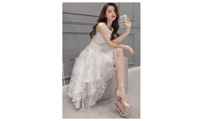 Women Sleeveless Bridesmaid Unique Long Prom Night Dress - JPWD479