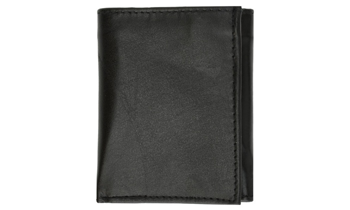 Multi Card Holder ID Window Trifold Soft Leather Mens Wallet