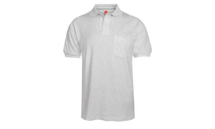 Hanes Mens EcoSmart Pocket Polo Shirt
