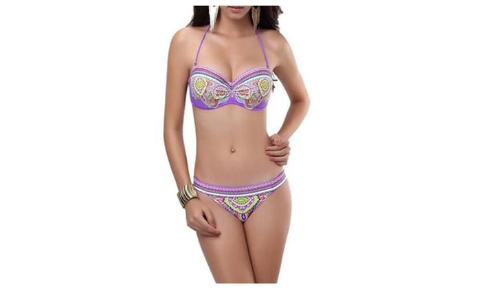 Women's Multicoloured Boho Swimsuit Bikini Sets