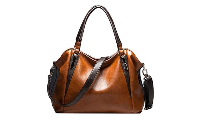 Women's PU Handbag Top Handle Satchel Shoulder Cross-body Tote Bag