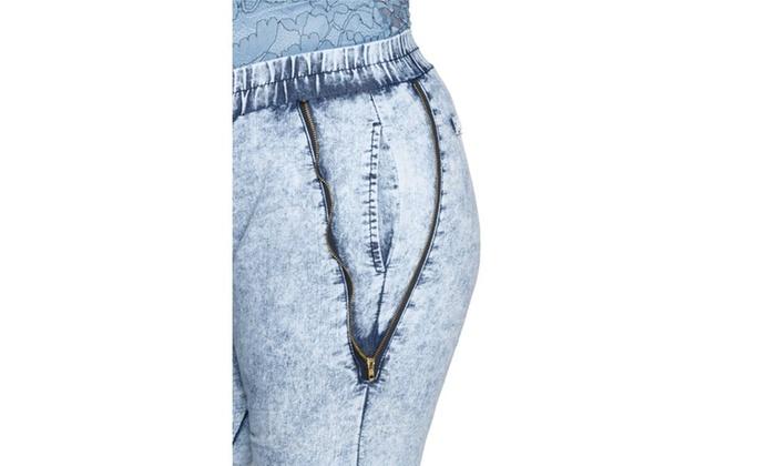 8245954f1f3 ... Xehar Women s Plus Size Zig Zag Acid Wash Zipper Jogger Pants