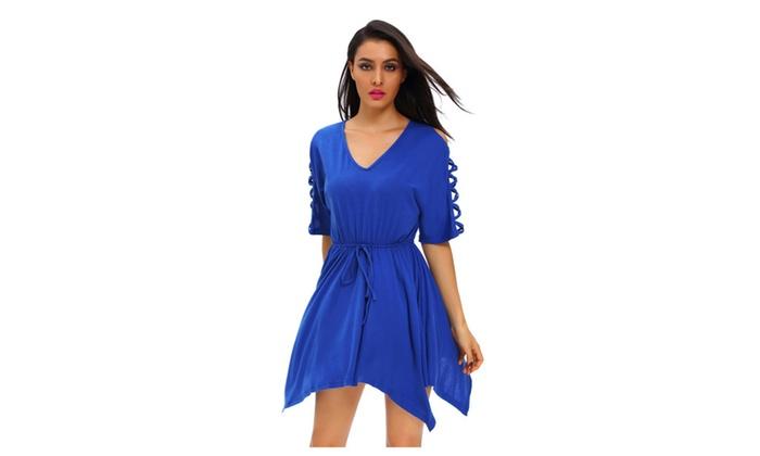 Women's Royal Blue Lace Up Half Sleeves Irregular Skater Dress
