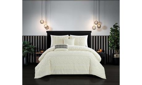 Gibson 5 Piece Comforter Set Jacquard Chevron Geometric Pattern Design Bedding photo