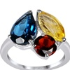 Orchid Jewelry 925 Silver London Blue Topaz, Citrine & Garnet Ring