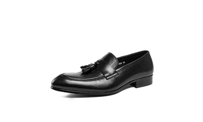Men's Genuine Leather Loafer Shoes Tassel Dress Wedding Formal Shoes