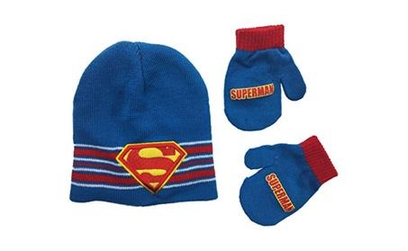 Superman Super 2 Piece Set Beanie Knit Hat and Mittens Boys One Size a9a9d4ce-eb3f-476e-9f25-a853c99aa282